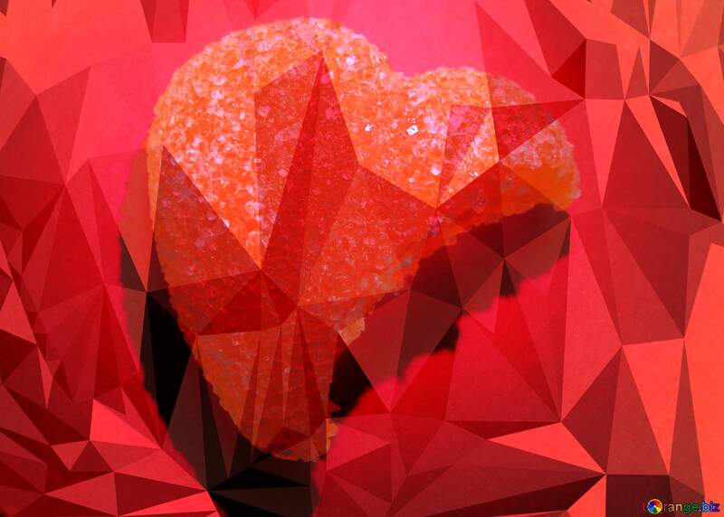 Broken Heart Polygonal abstract geometrical background with triangles №18551