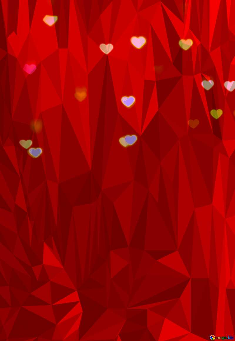 Glowing red hearts Polygonal abstract geometrical background with triangles №37848