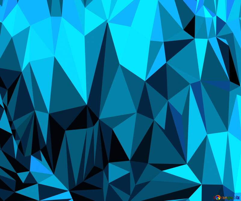 Polygon background with triangles blue wave color №51583