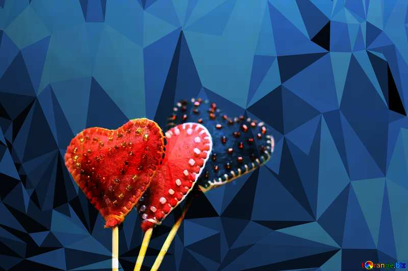 Hearts made of felt on a blue Polygonal abstract geometrical background with triangles №49197