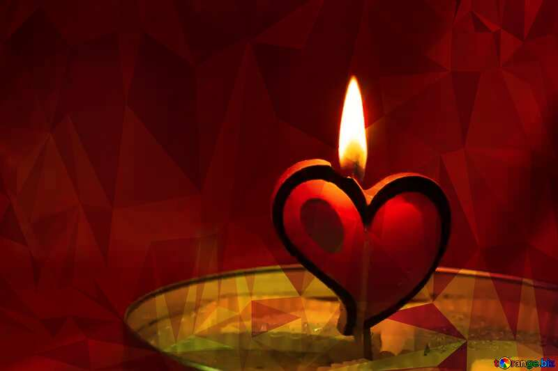 Candle in the form of heart Polygonal abstract geometrical background with triangles №17606