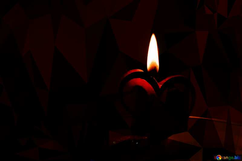 Candle in the form of heart red Polygonal abstract geometrical background with triangles №17606