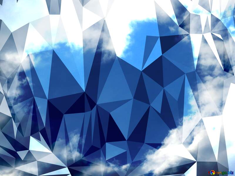 Heart of clouds love in sky Polygonal abstract geometrical background with triangles №22604