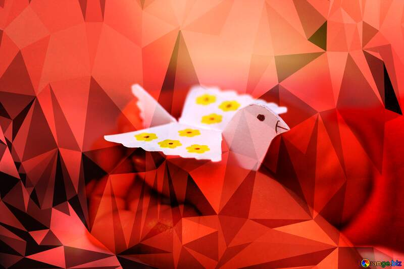Paper bird Template Frame red Polygonal abstract geometrical background with triangles №51105