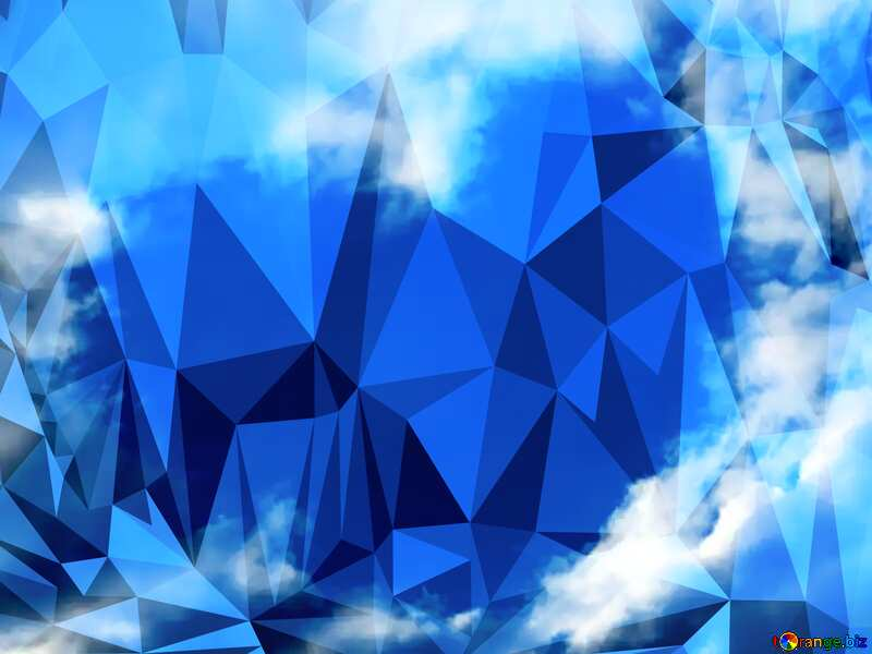 Heart of clouds blue sky Polygonal abstract geometrical background with triangles №22604