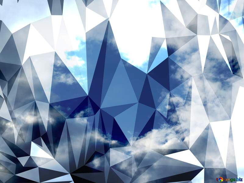 Heart in the sky hard Polygonal abstract geometrical background with triangles №22605