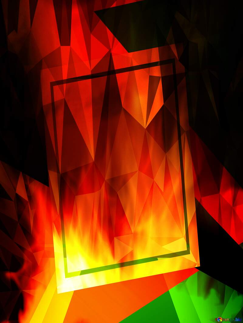 Fire Wall. template frame Polygonal abstract geometrical background with triangles №9546