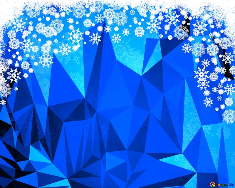 Blue Christmas background  Polygonal abstract geometrical background №40658