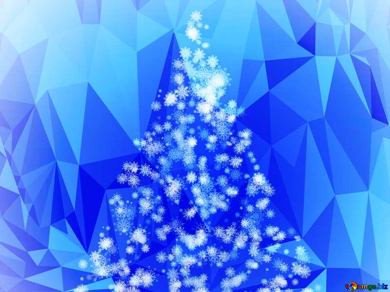 Christmas tree of snowflakes polygonal background blue №40661