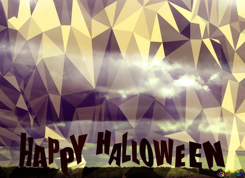 Autumn Clouds Polygonal abstract geometrical background with triangles Happy Halloween №3525