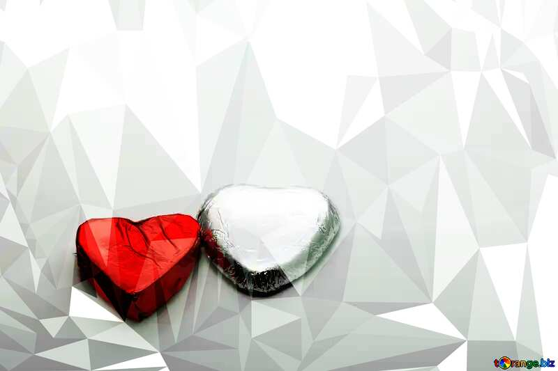 Two chocolate hearts Polygonal abstract geometrical background with triangles №16372