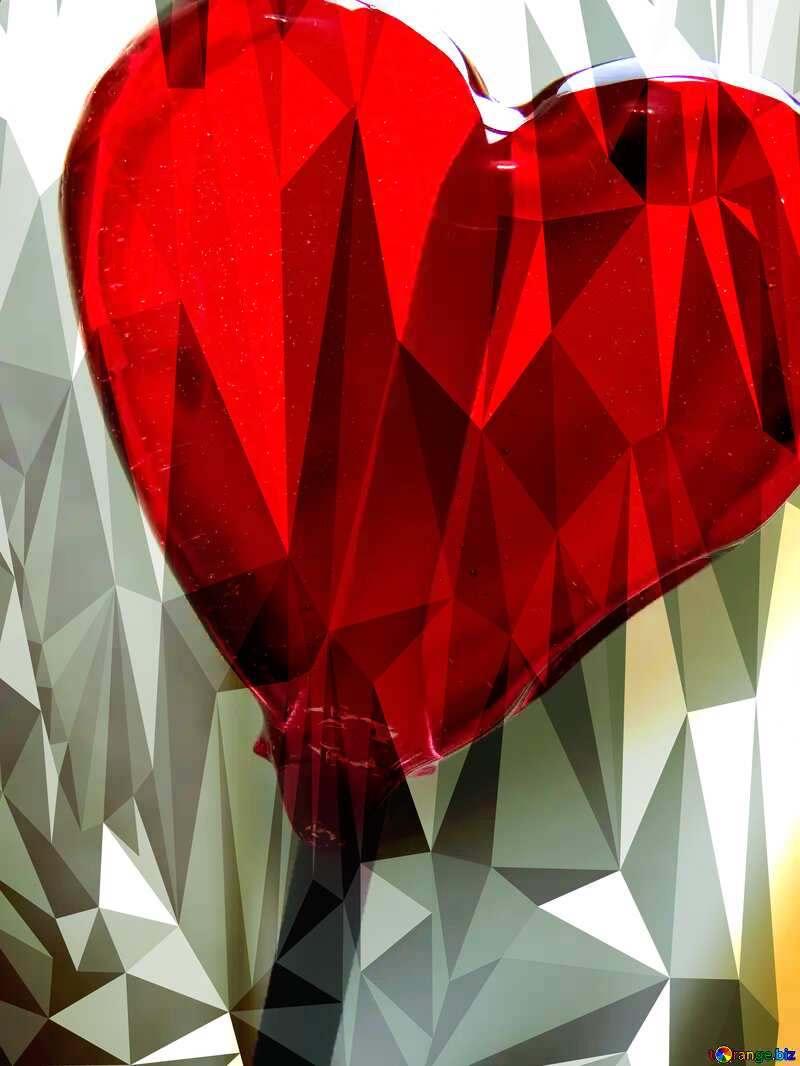 Heart on Stick Polygonal abstract geometrical background with triangles №17466