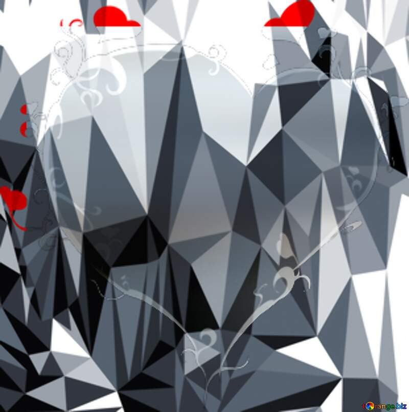 Two white swans Polygonal abstract geometrical background with triangles №386