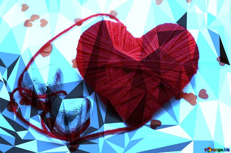 Heart with chocolates Polygonal abstract geometrical background with triangles №16449