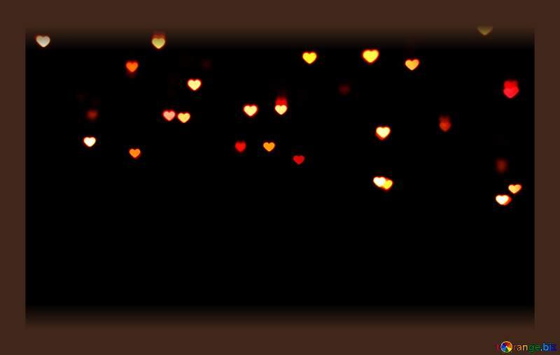 Lights hearts on dark background frame №37845