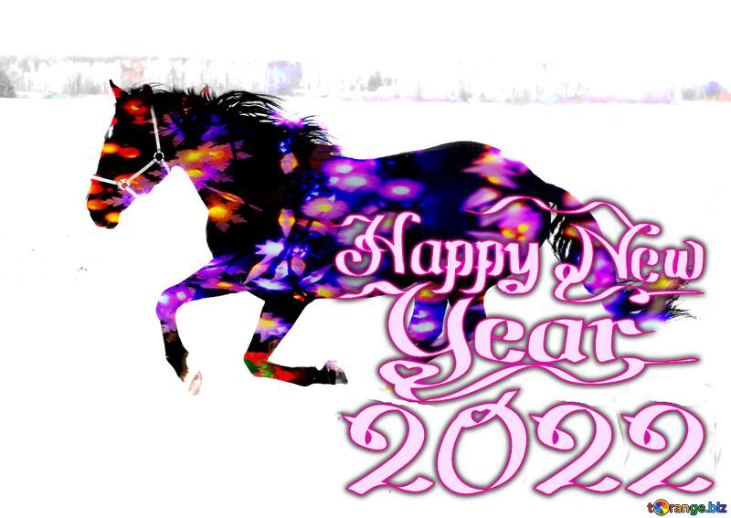 Horse snow winter   happy new year 2021 №18191