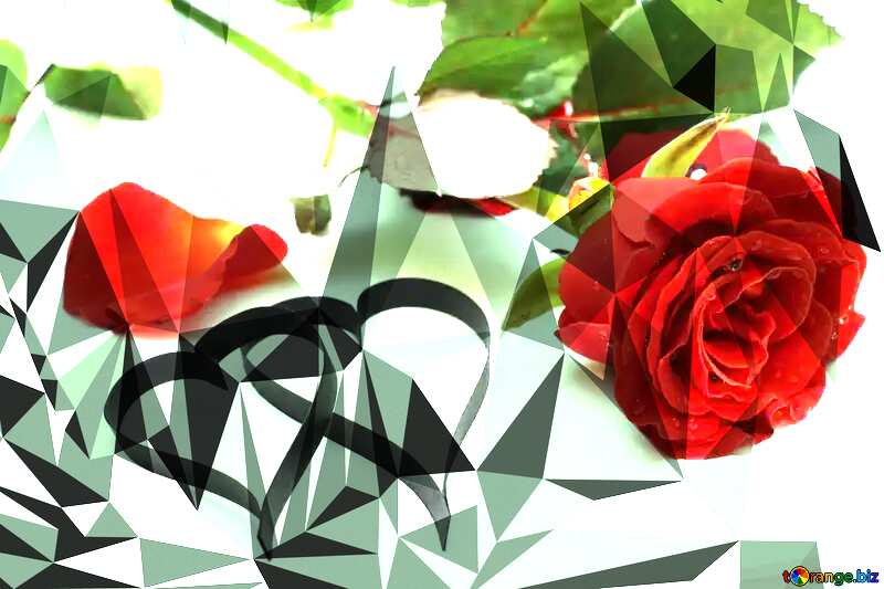 Two hearts made of paper roses Polygonal abstract geometrical background with triangles №16851