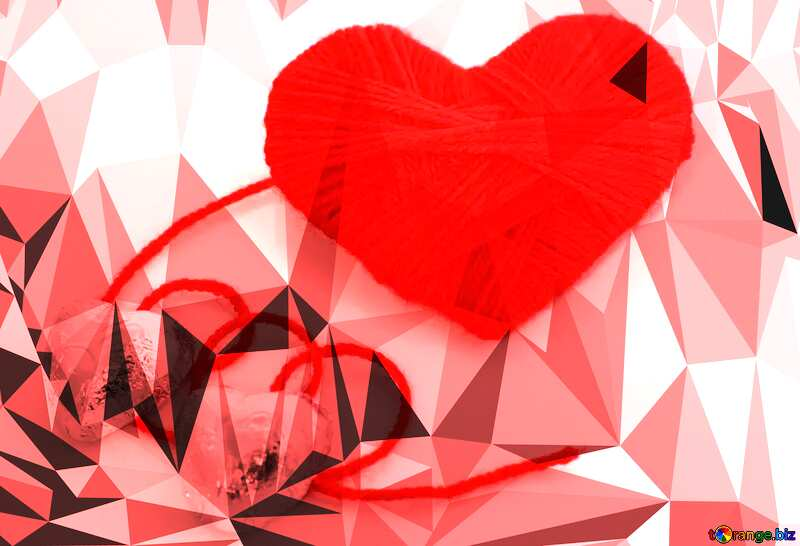 Chocolates candy for Valentine heart Polygonal abstract geometrical background love card №16459