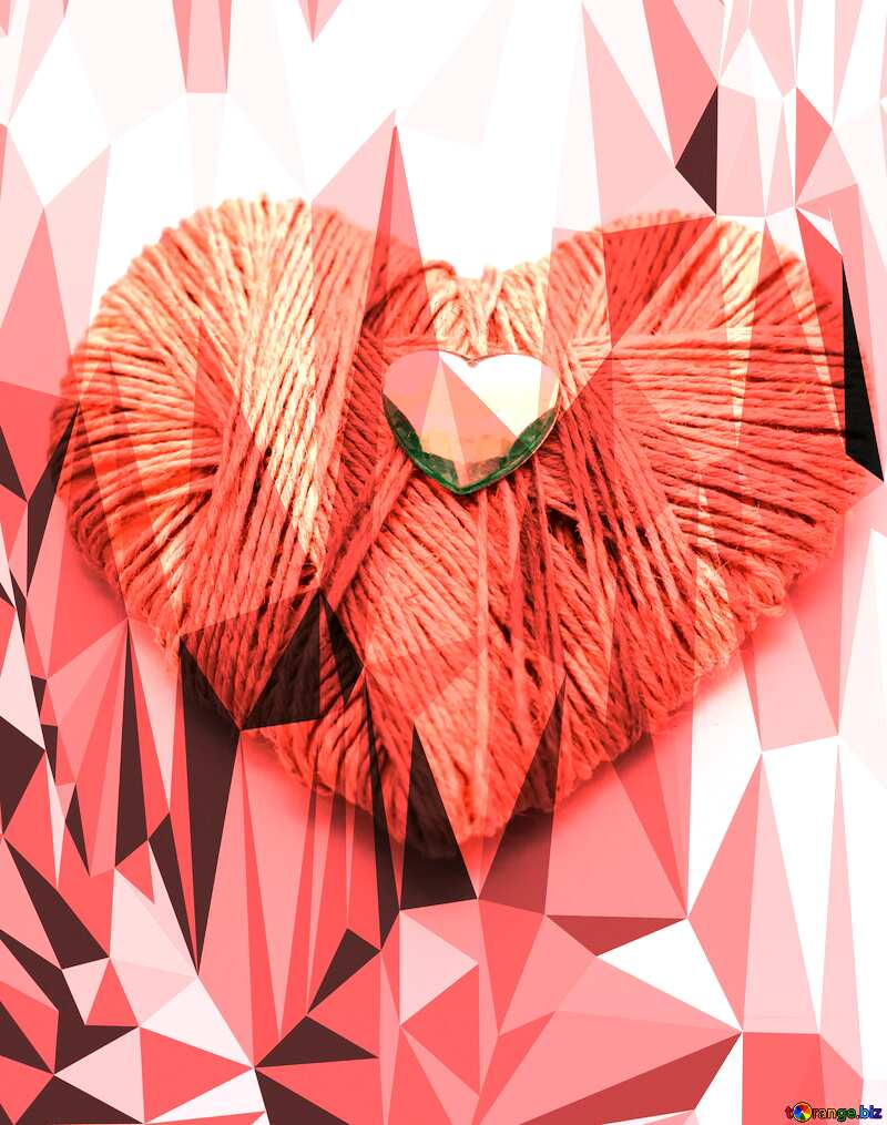 Homemade gift for Valentine`s Day Polygonal abstract geometrical background love card №16436