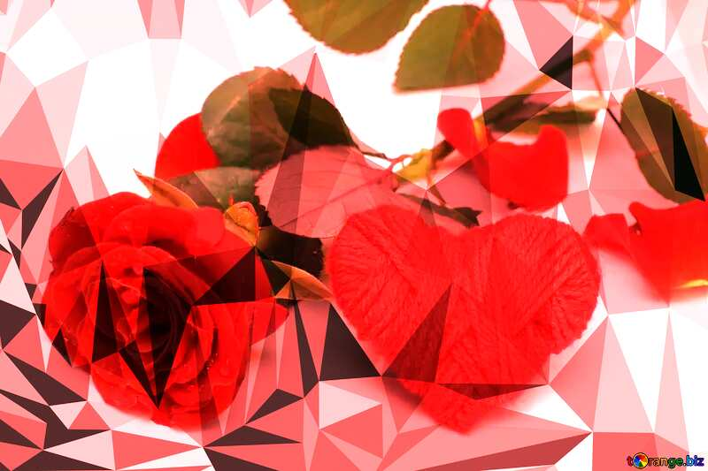 A rose and heart Polygonal abstract geometrical background with triangles №16858