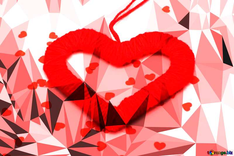 Heart on Valentine`s Day Polygonal abstract geometrical background with triangles №16412