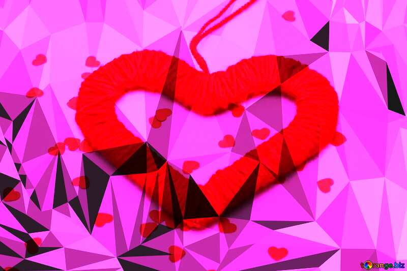 Heart on Valentine`s Day red Polygonal abstract geometrical background with triangles №16412