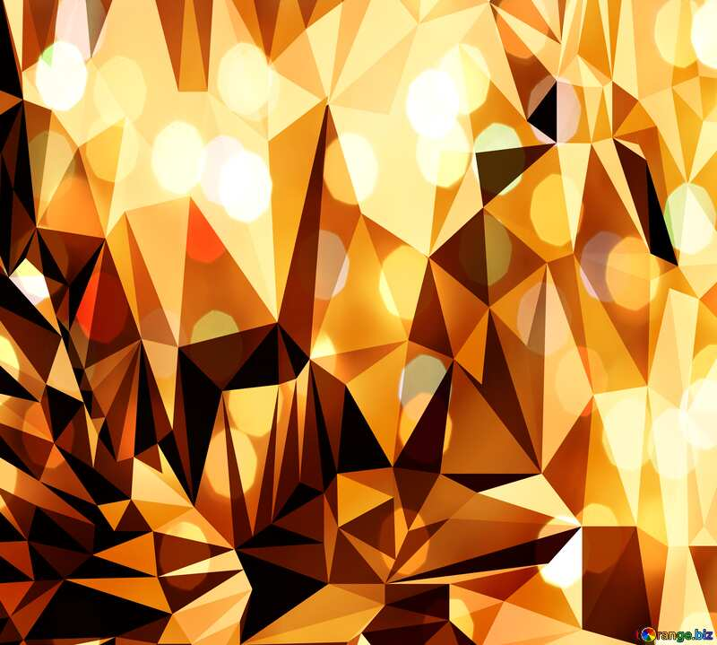 Polygon background with triangles orange bokeh №51583