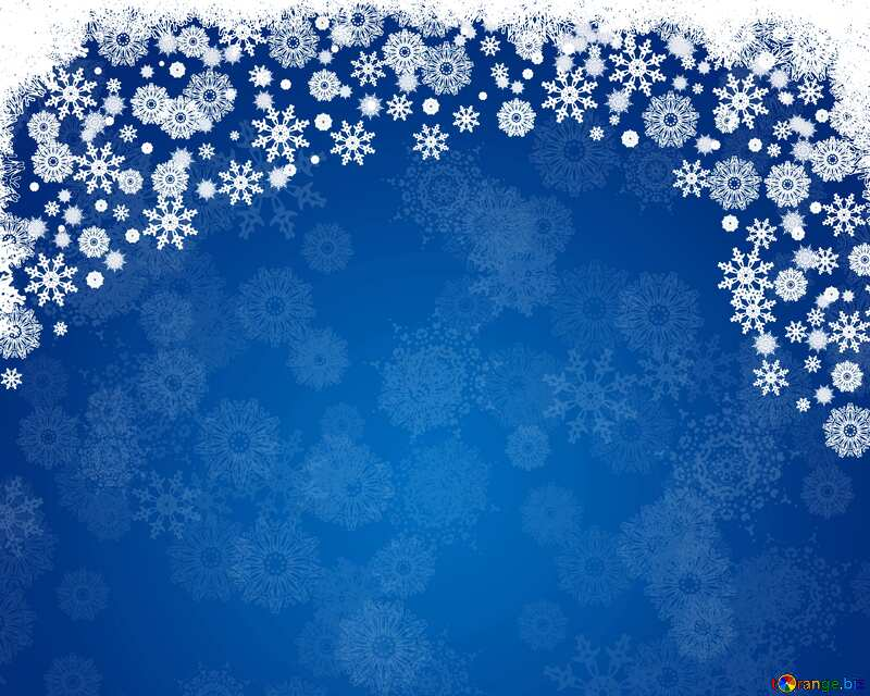 Blue Christmas background snowflakes top frame border №40658