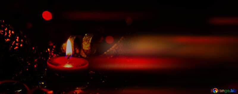 Christmas Candle dark blur left side  card background №15000