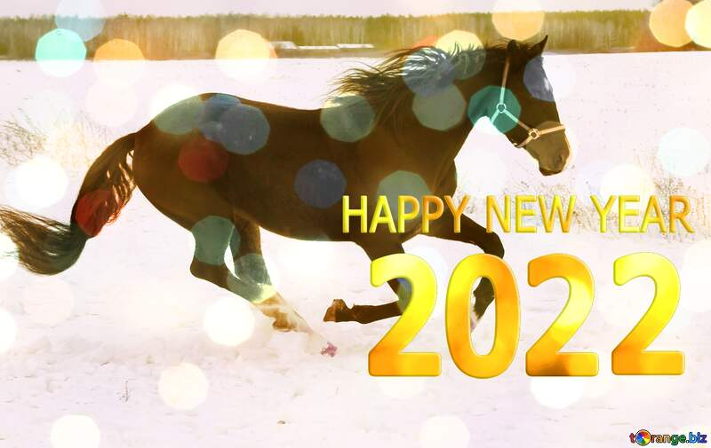 Horse in the snow happy new year 2022 №18191