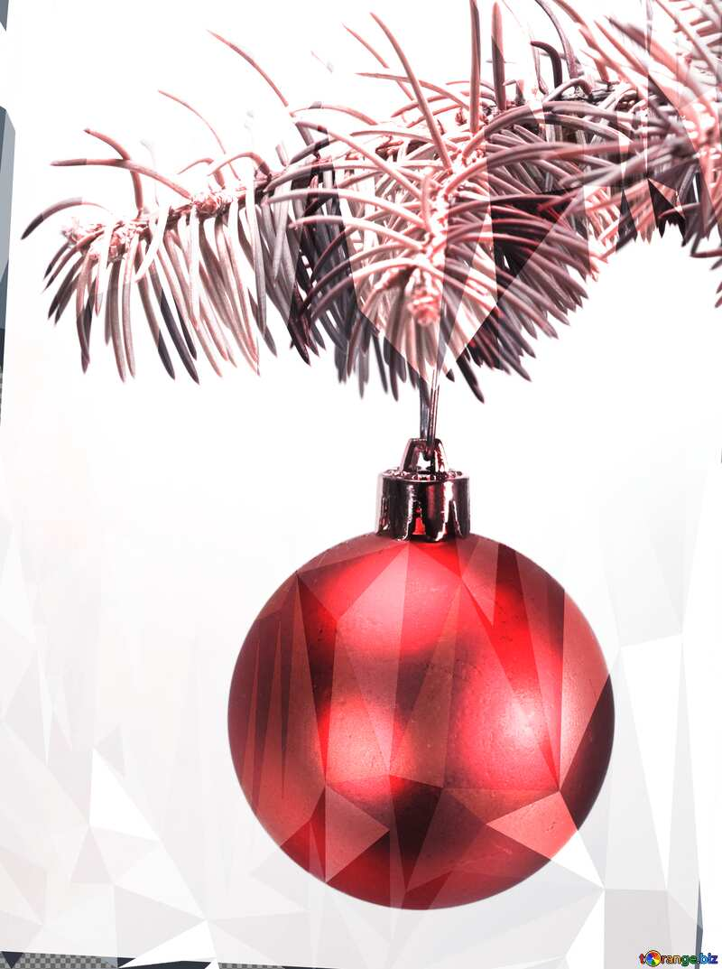 Toys  , Christmas tree ball on ,  branch. red  picture №6791