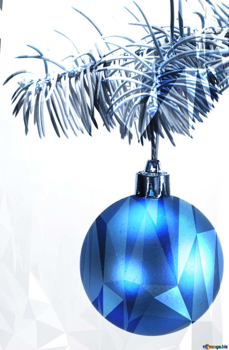 Toys  , Christmas tree ball on ,  branch. polygonal blue   picture №6791