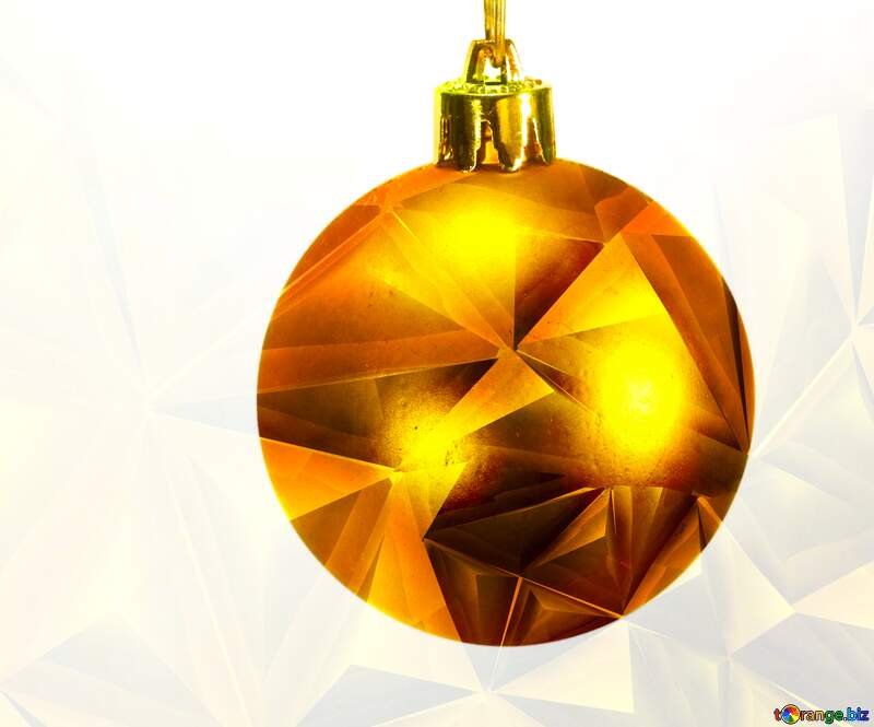 Toys  , Christmas tree ball on ,  branch. polygonal gold metal texture №6791