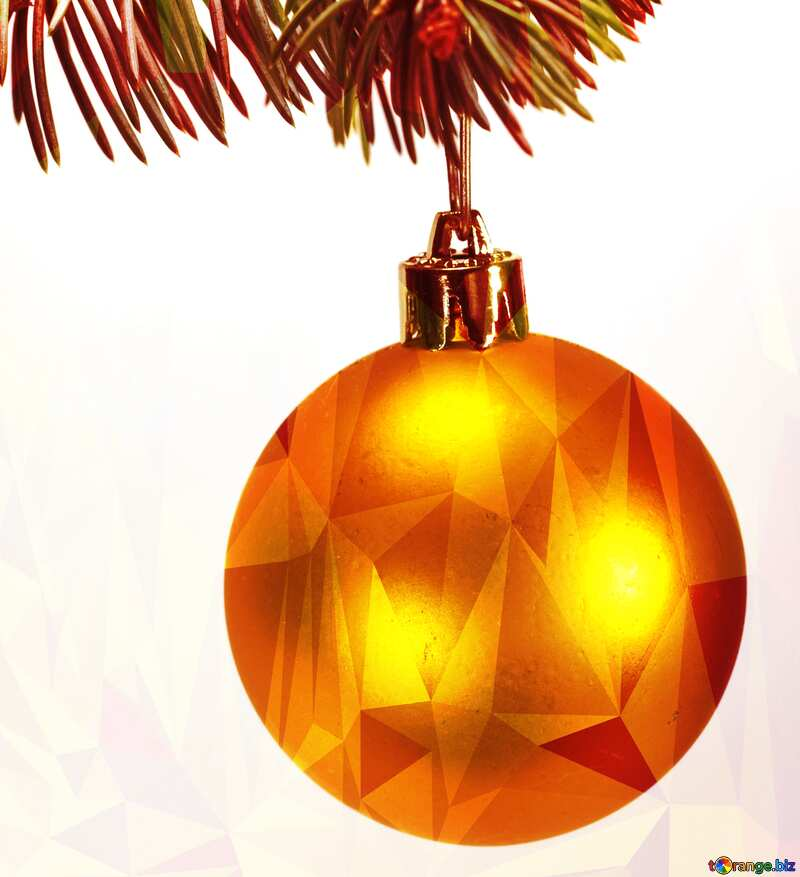 Toys gold  , Christmas tree ball on ,  branch. Polygonal №6791