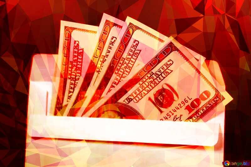 Envelope, U.S.dollars  triangles polygonal background hot red №4984