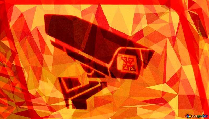 Sticker Warning video surveillance Polygonal background №48501