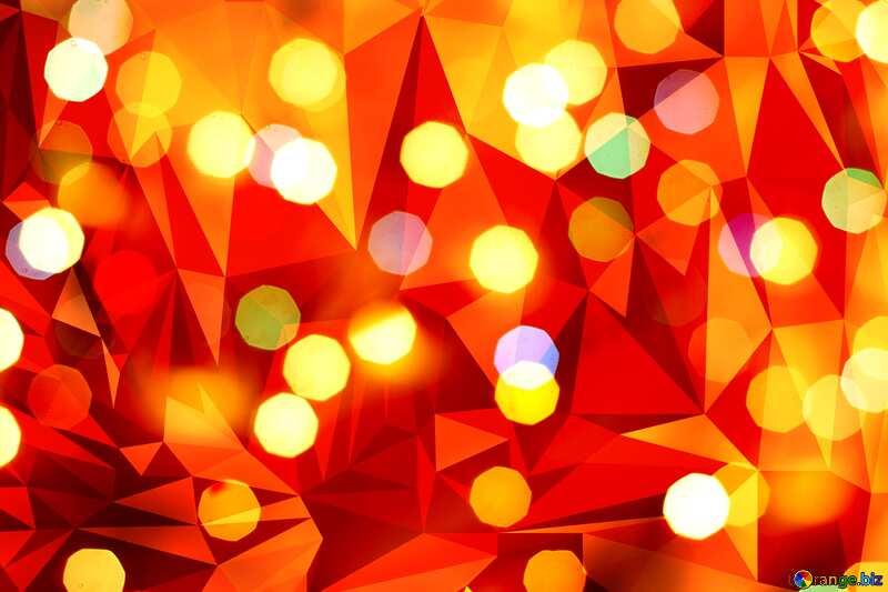 Christmas orange red  polygonal triangles bokeh lights  background №24617