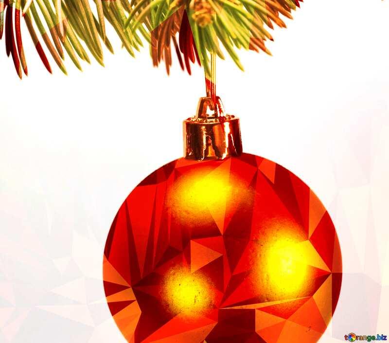 Toys  , Christmas tree ball on ,  branch. Polygonal triangles orange №6791