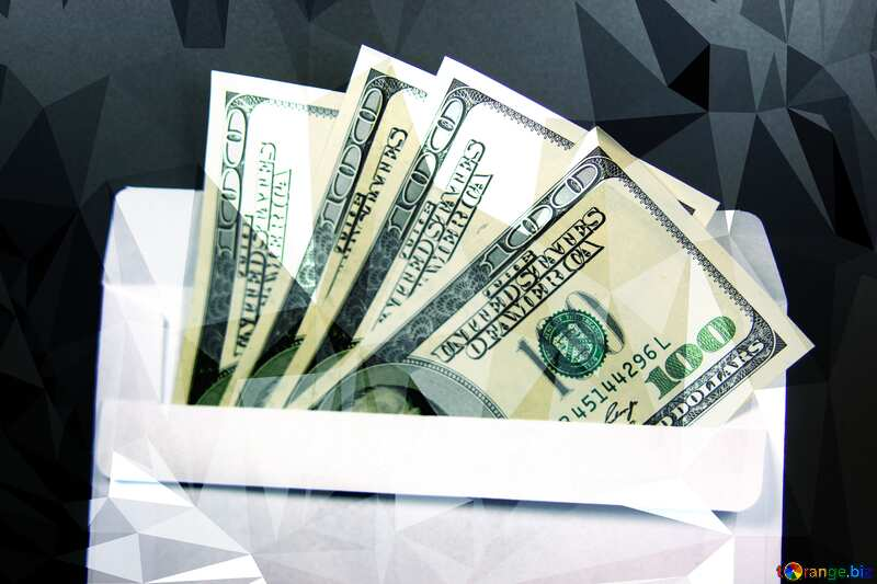 Envelope, U.S. dollars  triangles polygonal background techno color №4984