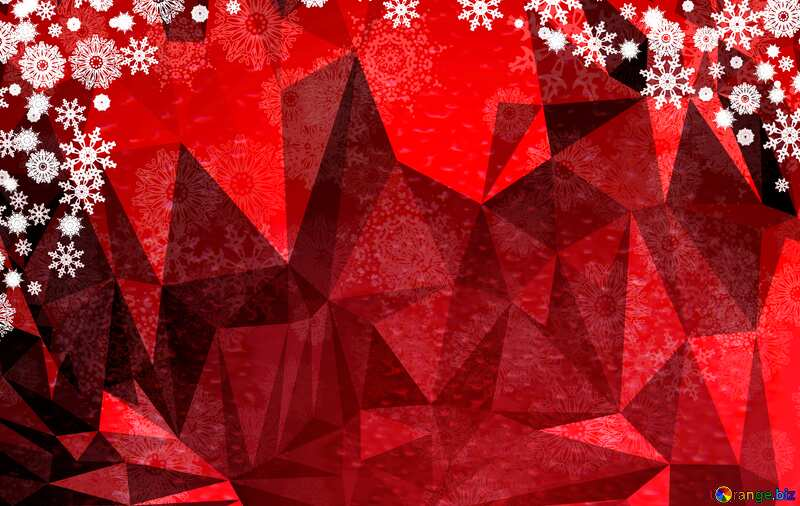 Polygonal Christmas background triangles techno Red color №40659