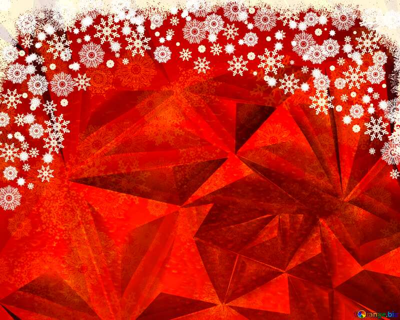 Polygonal Christmas background Red №40659