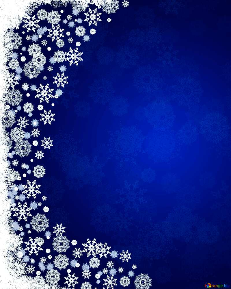 Blue Christmas background left side snowflakes border №40658