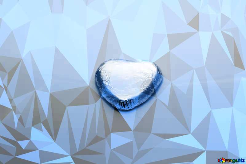 Chocolate heart Polygonal abstract geometrical background with triangles blue №16373