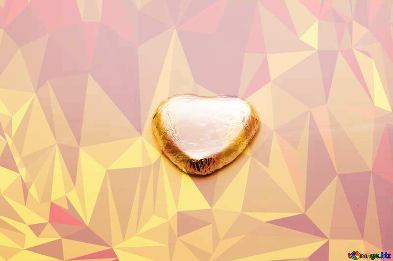 Chocolate heart Polygonal abstract geometrical background with triangles hot №16373