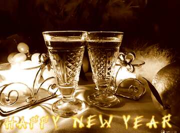 El efecto de la luz. El efecto de la sepia. Card with text Happy New Year.