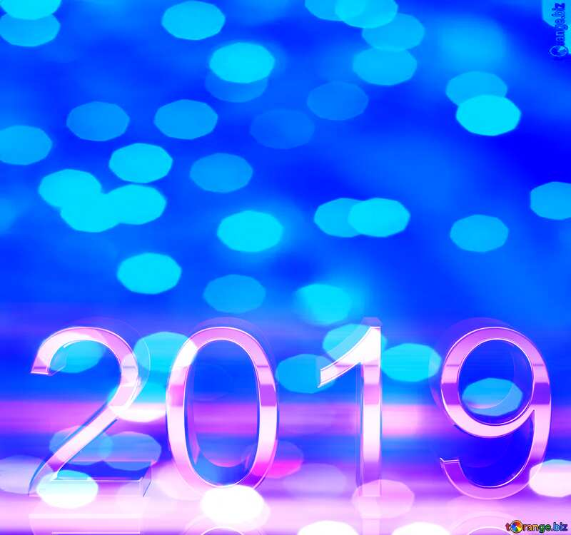 2019  3d render blue digits with reflections dark background  Christmas №51520