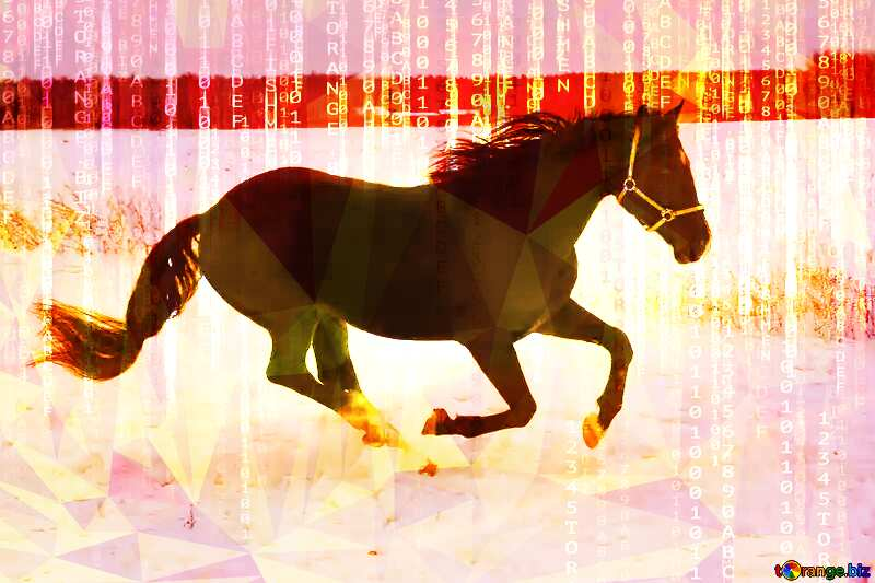 Horse in the snow Digital technology polygonal background №18191