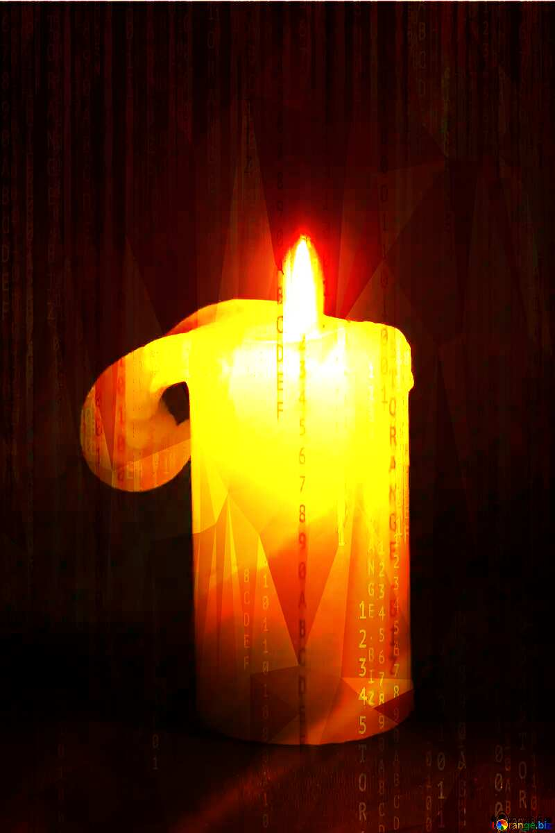 Burning candle Digital technology background polygonal picture №2390