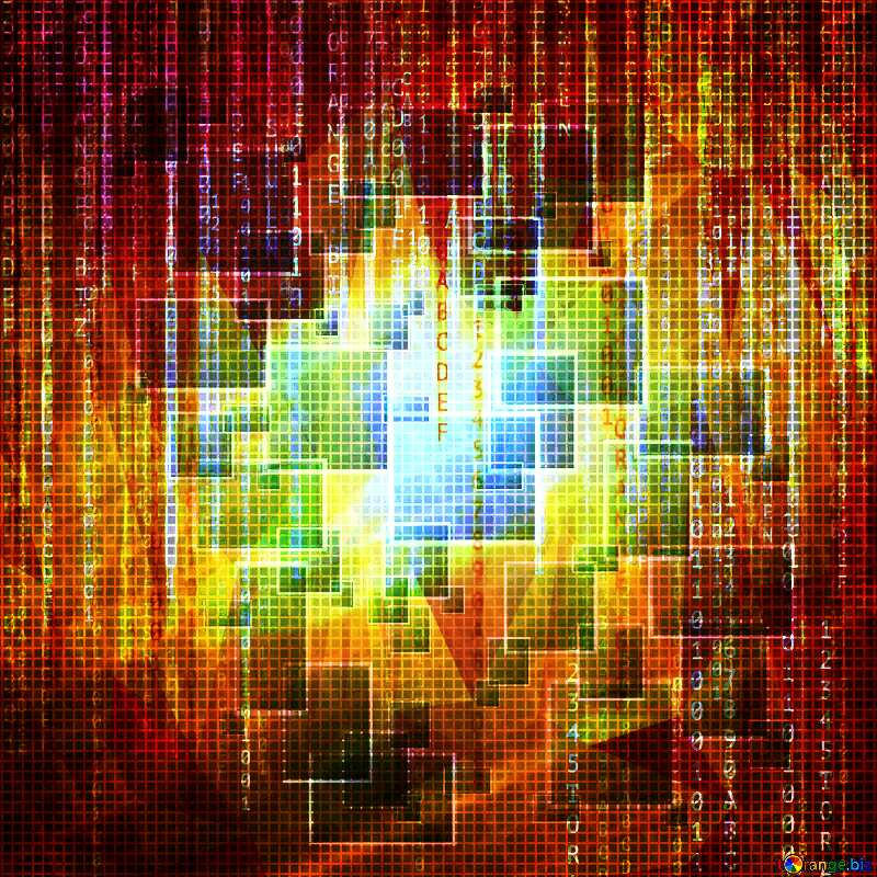 Technology background binary code polygonal matrix style №49678