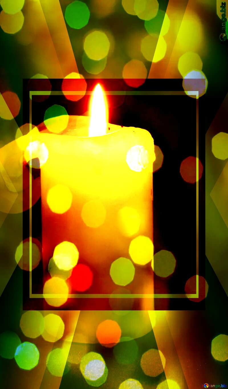 Burning candle bokeh Christmas background template №2390